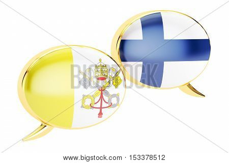 Speech bubbles Vatican-Finnish conversation concept. 3D rendering