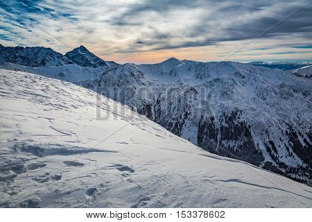 Sunset Over The Tatra Mountains In Winter, Poland