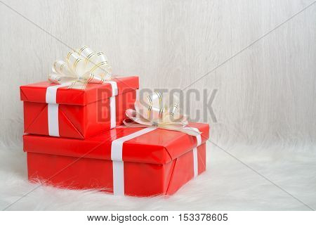 Two Red Boxes With Gifts