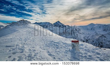 Country Border In The Mountains In Winter, Poland, Slovakia
