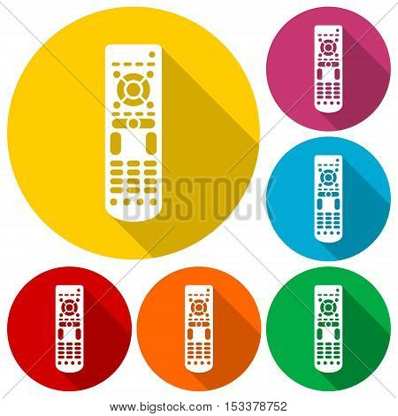Remote control icons set with long shadow