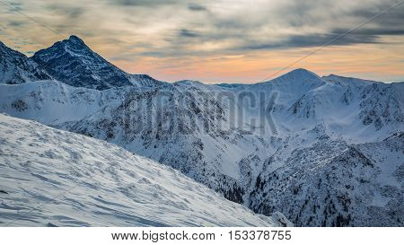 Winter Tatra Mountains at sunset in Poland