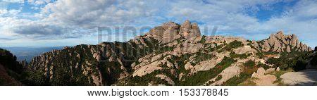 Famous Monserrat range mountains panorama in Spain