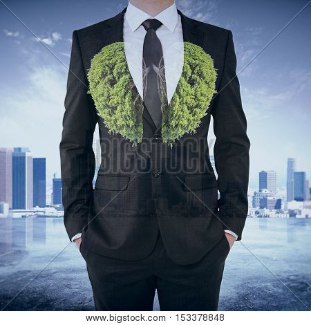 Abstract image of businessman in suit with abstract tree lungs on city background. Environment concept