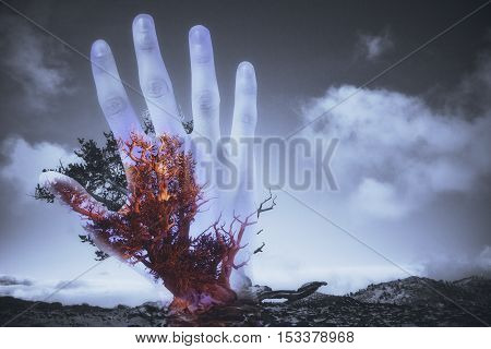 Abstract hand silhouette and red tree on sky background. Horror concept. Double exposure