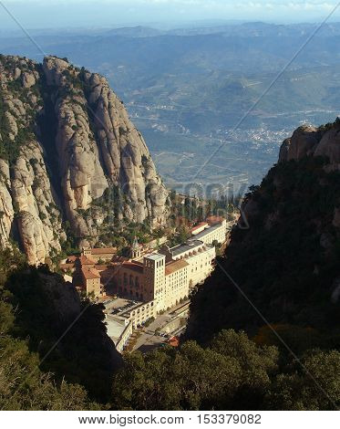 Famous benedictine friary in Monserrat mountains in Spain