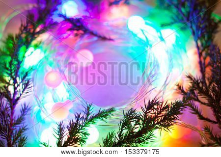 out of focus lights garlands. New Year Christmas background