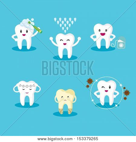 set icon teeth. Protection of the oral cavity. Healthy teeth. The fight against tooth decay.