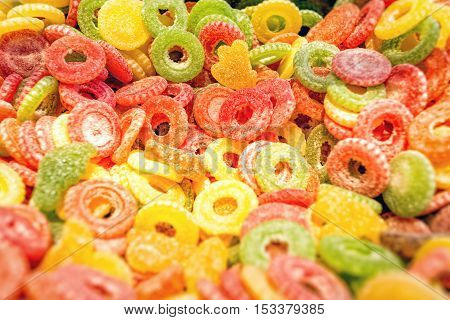 Salt colorful neon gummy candies for background use