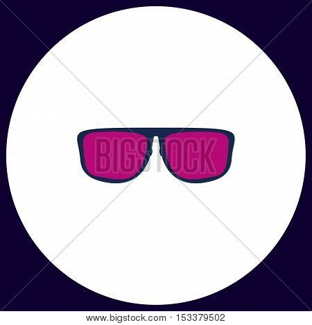 Glasses Simple vector button. Illustration symbol. Color flat icon