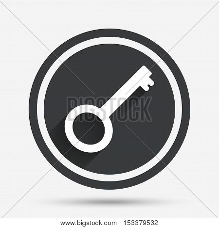 Key sign icon. Unlock tool symbol. Circle flat button with shadow and border. Vector