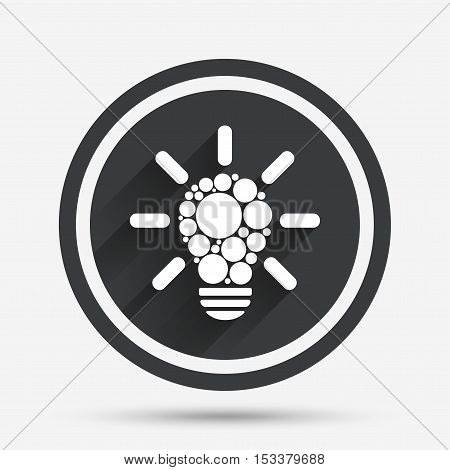 Light lamp sign icon. Bulb with circles symbol. Idea symbol. Circle flat button with shadow and border. Vector