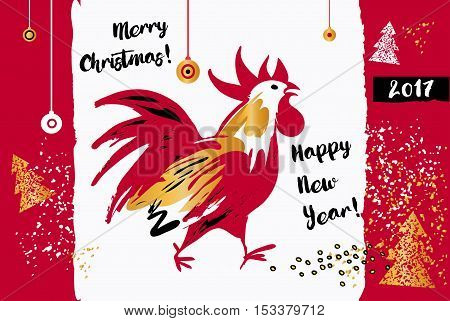 Illustration For Happy New Year With Silhouette Cock And Christm
