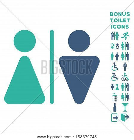 WC Persons icon and bonus male and woman lavatory symbols. Vector illustration style is flat iconic bicolor symbols, cobalt and cyan colors, white background.