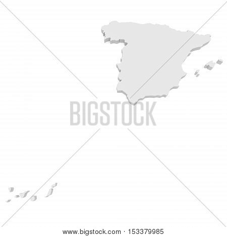 3d Illustration of Spain With Isles Map Isolated On White Background