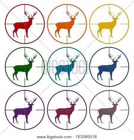 Hunting Season with Deer in gun sight icons set