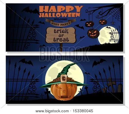 Halloween design. Pumpkin in witches hat. Halloween Jack-o'-lantern. Happy Halloween. Trick or treat