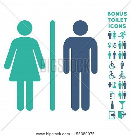 WC Persons icon and bonus gentleman and female lavatory symbols. Vector illustration style is flat iconic bicolor symbols, cobalt and cyan colors, white background.