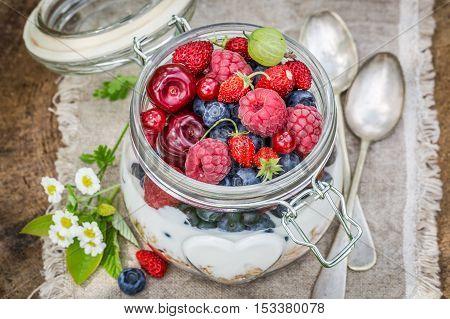 Tasty Berry Fruits And Yogurt With Granola