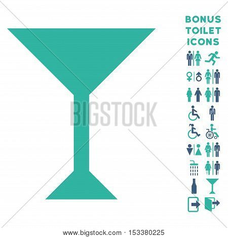 Wine Glass icon and bonus male and woman restroom symbols. Vector illustration style is flat iconic bicolor symbols, cobalt and cyan colors, white background.