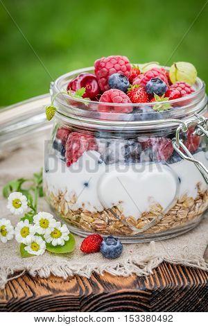 Fresh Berry Fruits And Yogurt With Granola