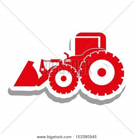 red excavator heavy machinery pictogram icon image vector illustration design