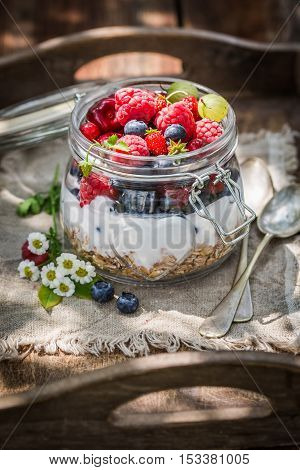 Granola And Yogurt Decorated With Flowers In Garden