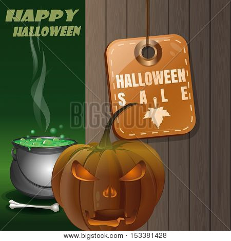 Price tag with inscription - Halloween sale. Jack-o'-lantern on a background of a wooden fence and magic cauldron. Illustration for Halloween