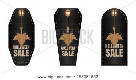 Set of Halloween sale black tag for your business or promotion. Scary Deals. Black tag price for Halloween