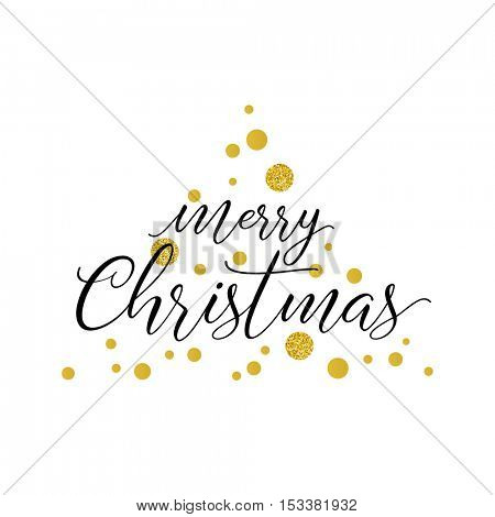 Merry Christmas greeting card. Typographic vector design, golden glitter dots.
