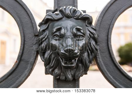 Iron antique lion head. Design the gate with the heads of lions at the Museum Derzhavin Palace in Saint-Petersburg.