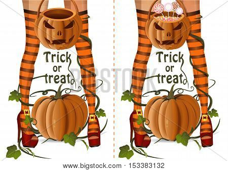Halloween design set. Closeup sexy witch legs on a background of pumpkin. Sexy witch with Jack-o'-lantern bag with lollipops candy and empty Halloween basket. Trick or treat