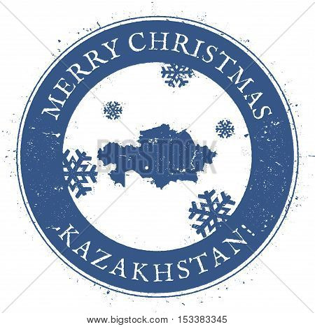 Kazakhstan Map. Vintage Merry Christmas Kazakhstan Stamp. Stylised Rubber Stamp With County Map And