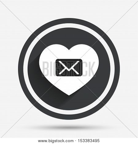 Love Mail icon. Envelope symbol. Message sign. Mail navigation button. Circle flat button with shadow and border. Vector