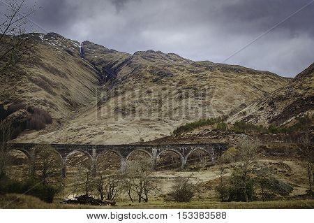 Glenfinnan viaduct in Scotland in winer time