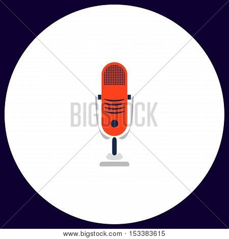 music microphone Simple vector button. Illustration symbol. Color flat icon