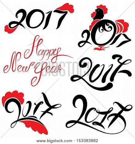 Set of numerals Calligraphy 2017. Chinese calendar for the year of rooster. Hand written calligraphic text Happy New Year.