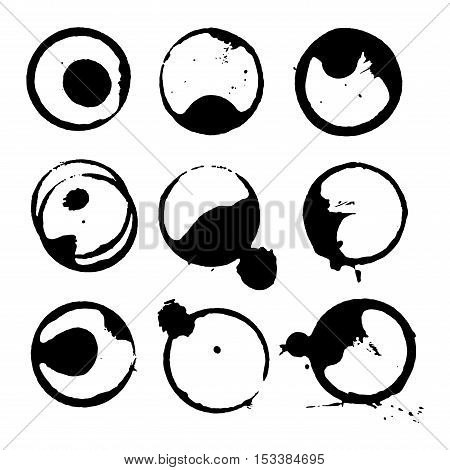 Coffee staiin spots splashes cup vector isolated on white background. Coffee spots splash vector set