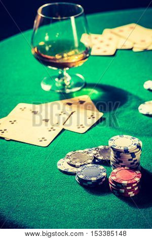 Old Gambling Table With Cards And Chips