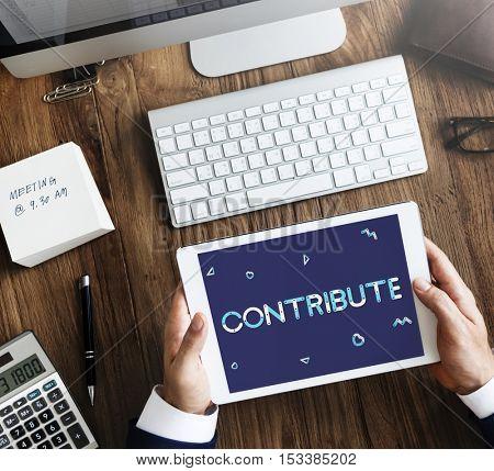 Geometric Font Charity Volunteer Concept