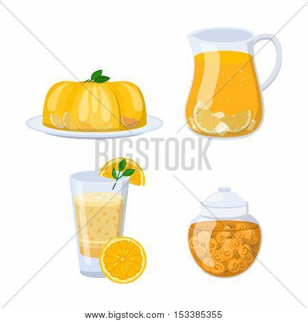 Glass of orange juice fresh drink beverage healthy drink isolated vector illustration. Glass of juice pineapple and multi fruit and citrus sweet juice glass. Citrus juice sweet liquid.