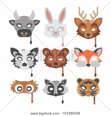 Cartoon animal party masks vector. Animal carnival mask vector holiday illustration party fun symbol. Celebration animal carnival mask character head masquerade festival decoration human face