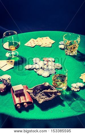 Cards And Chips In Vintage Table For Poker