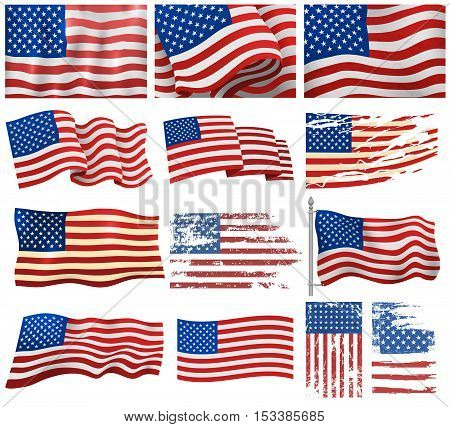 Independence day patriotic national symbol. Set of United States flag american symbol. Wavy USA flag america national freedom banner. American flag wavy shape patriot emblem.