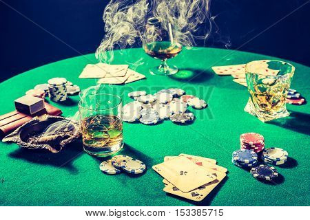 Whiskey, Cigar And Cards In Vintage Gambling Table