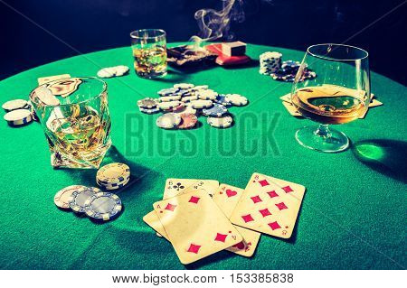 Vintage Table For Poker With Whiskey, Cigar And Cards