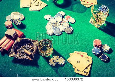 Chips And Cards In Old Gambling Table