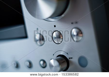 Hi-Fi cd player with with focus on the STOP button - ready to listen to digital stereo music sound
