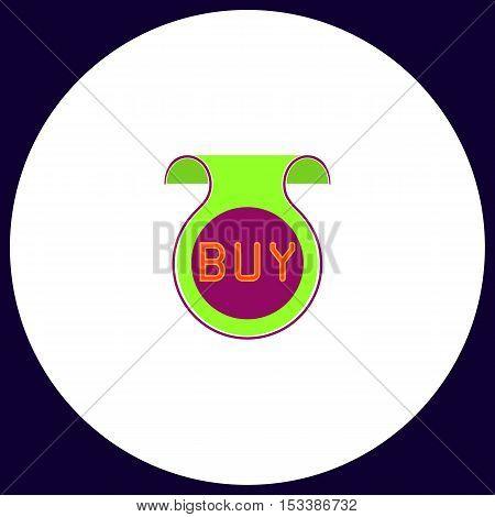 Buy Simple vector button. Illustration symbol. Color flat icon