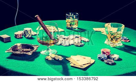 Table For Poker With Cards And Chips